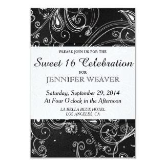 Black and White Modern Swirls Design 3.5x5 Paper Invitation Card