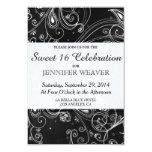 Black and White Modern Swirls Design Personalized Invitation