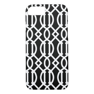 Black and White Modern Trellis Pattern iPhone 7 Case