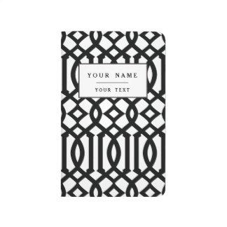 Black and White Modern Trellis Pattern Journal