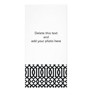 Black and White Modern Trellis Pattern Photo Card