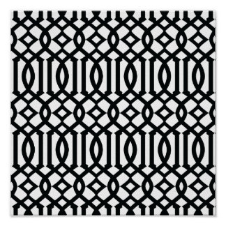 Black and White Modern Trellis Pattern Poster