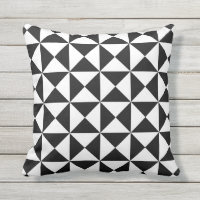 Black and White Modern Triangle Outdoor Pillow