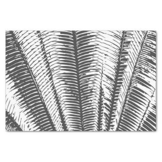 """Black and White Modern Tropical Palm Fronds 10"""" X 15"""" Tissue Paper"""