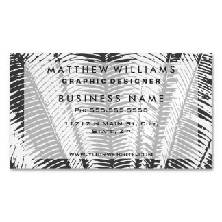 Black and White Modern Tropical Palm Fronds Business Card Magnet