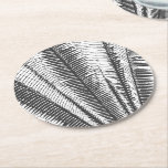 """Black and White Modern Tropical Palm Fronds Round Paper Coaster<br><div class=""""desc"""">This modern and cool black and white tropical palm fronds is perfect for the trendy and stylish individual. It&#39;s simple and contemporary print is great for many gifts and occasions. Just enjoy this elegant and exotic print for your next purchase.</div>"""