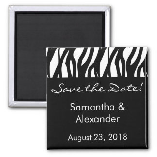 Black and White Modernist Stripe 2 Inch Square Magnet