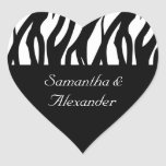 Black and White Modernist Stripe Heart Sticker