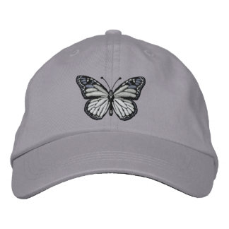 Black and White Monarch Butterfly Embroidered Hat