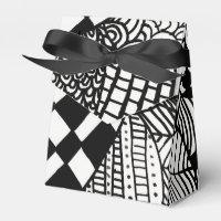 Black and White Monochrome Hand Drawn Zen Doodle Favor Box