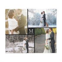 Black and White Monogram 4 Photo Collage Wedding Fleece Blanket