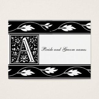 Black And White Monogram A Bridal Registry Cards