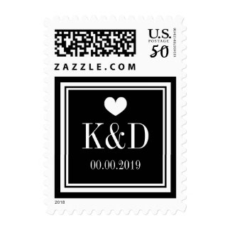 Black and white monogram and date wedding stamps