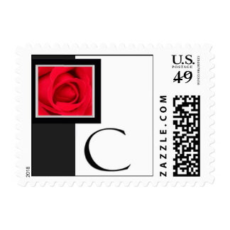 Black and white Monogram C Postage Stamps