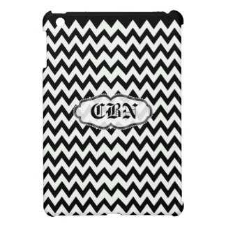 Black and white monogram chevron zig zag pattern case for the iPad mini