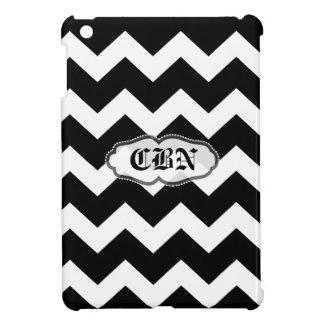 Black and white monogram chevron zig zag pattern iPad mini cases
