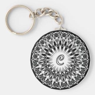 Black and White Monogram Circle C Basic Round Button Keychain
