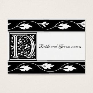 Black And White Monogram D Bridal Registry Card