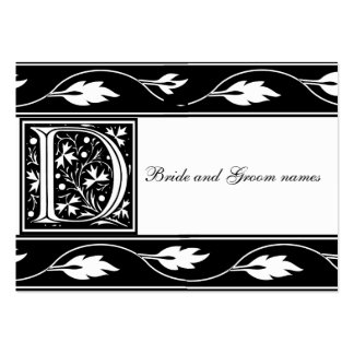 Black And White Monogram D Bridal Registry Card Large Business Cards (Pack Of 100)
