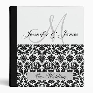 Black and White Monogram Damask Wedding Planner Binders