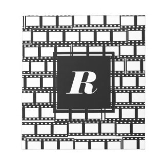 Black and White Monogram Design for Movie Lovers Notepad