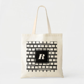 Black and White Monogram Design for Movie Lovers Tote Bag