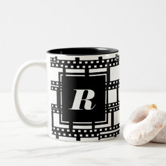Black and White Monogram Design for Movie Lovers Two-Tone Coffee Mug