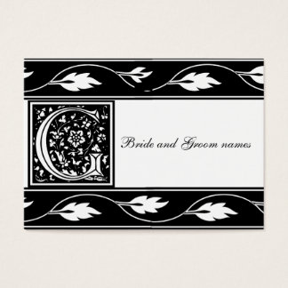 Black And White Monogram G Bridal Registry Card