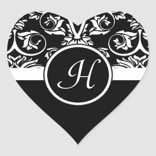 Black and White Monogram Heart Damask Stickers