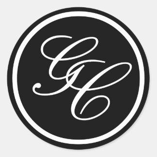 Black and White Monogram Initials Wedding Invite Classic Round Sticker