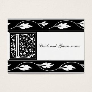 Black And White Monogram L Bridal Registry Card