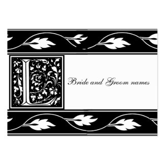 Black And White Monogram L Bridal Registry Card Large Business Cards (Pack Of 100)