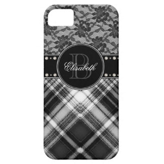 Black and White Monogram Lace and Check. iPhone 5 Cover