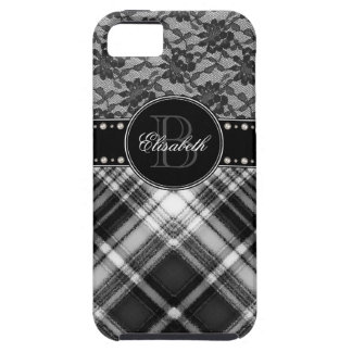 Black and White Monogram Lace and Check iPhone 5 Cases