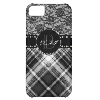 Black and White Monogram Lace and Check iPhone 5C Covers