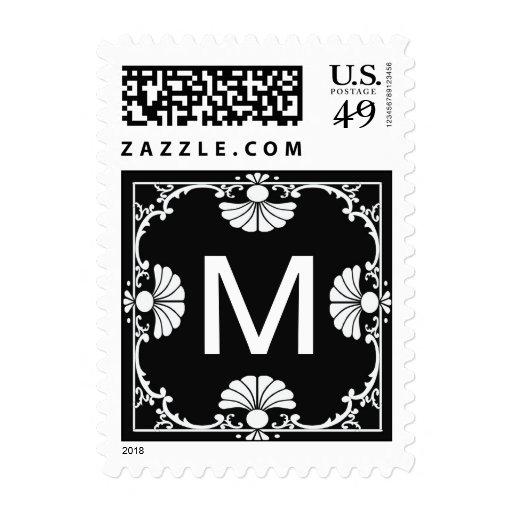 Black and White Monogram Letter M Stamp