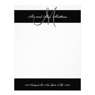 Black and White Monogram Letterhead for Newlyweds
