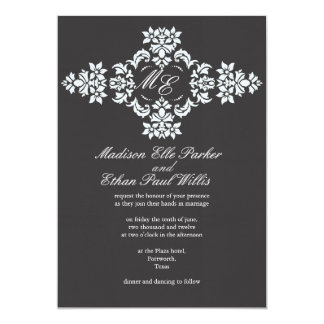 Black and white monogram linen wedding Invite