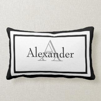 Black and White Monogram Name Keepsake Pillow