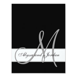 Black and White Monogram Names Wedding Reception Card