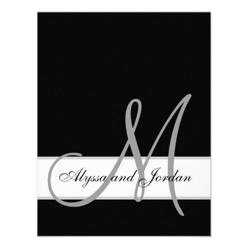 Black and White Monogram Names Wedding Reception Personalized Invite