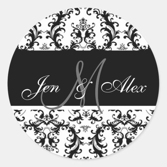 Black and White Monogram Paisley Wedding Sticker