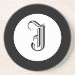 Black and White Monogram Personalized Coaster