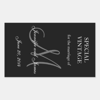 Black and White Monogram Rectangle Wedding Labels Rectangular Sticker