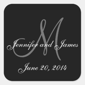 Black and White Monogram Square Wedding Labels Square Sticker
