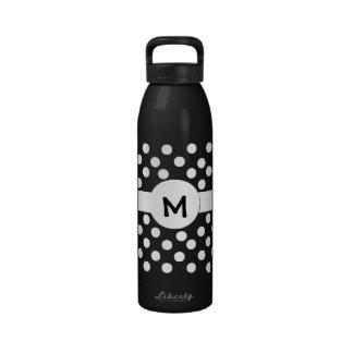 Black and White Monogram Water Bottle