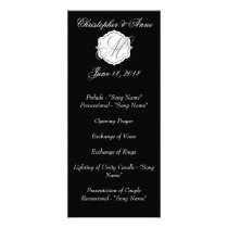 Black and White Monogram Wedding Ceremony Program
