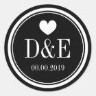 Black and white monogram wedding favor stickers