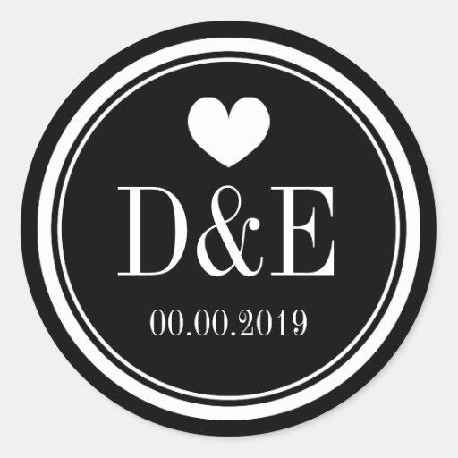 Black and white monogram wedding favor stickers thumbnail