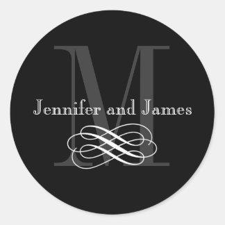 Black and White Monogram Wedding Logo Stickers